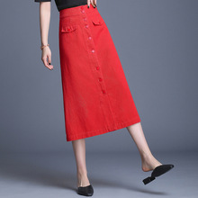 Red Single-breasted Denim Skirt Women Korean High Waist Black Long Jeans Skirts Ladies A Line Midi Cowboy Plus Size 4XL