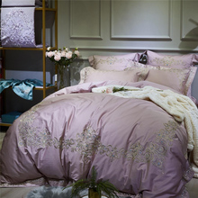 Luxury Royal Embroidery Purple Pink Blue Gray Green 100S Egyptian Cotton Palace Bedding Set Duvet Cover Bed Sheet Pillowcases