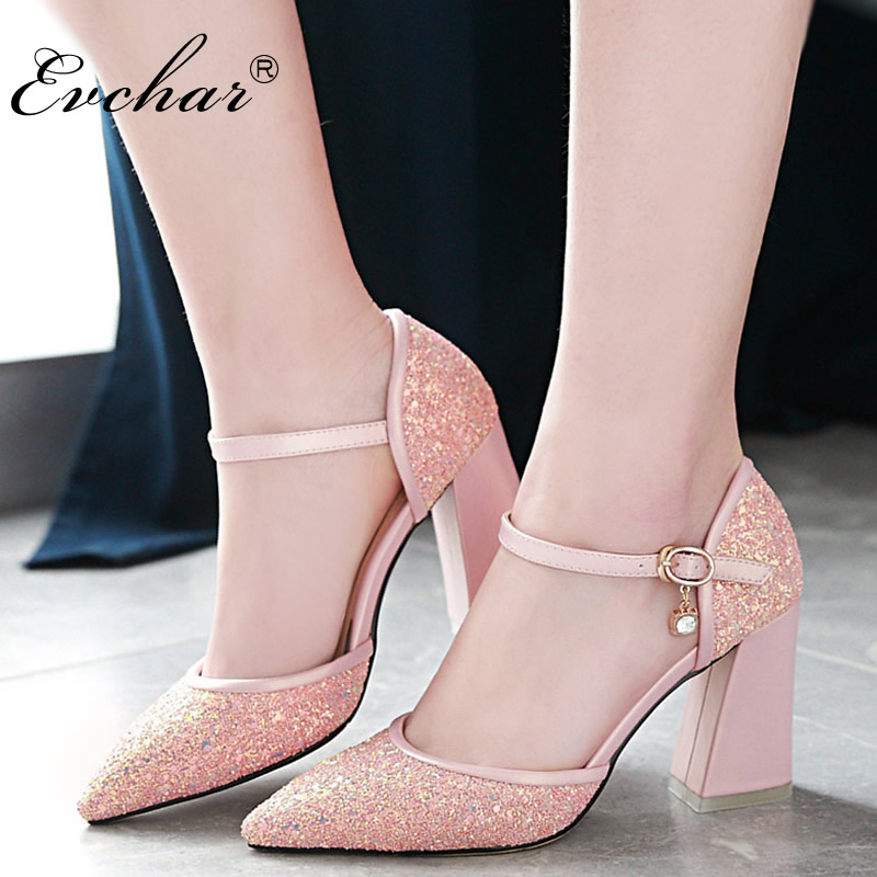 EVCHAR New Women Shoes Summer bling Sandals Ladies Pointed Toe high heels Buckle Ankle Strap square Heels Shoes big size 31-46 ladies comfortable women office shoes sandals square heels spring 2017 real leather round toe solid high heels big size 40 41 42