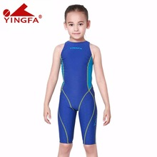 Yingfa children girls swimwear kids one piece swimsuits racing competition bathing suits girl professional swim solid child suit