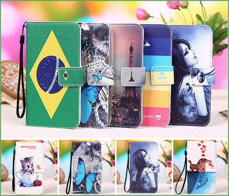 12 Patterns Colored Painting PU Leather for Fly IQ4503 Quad Era Life 6 Case Cover, Fly IQ 4503 wallet phone Case +Tracking