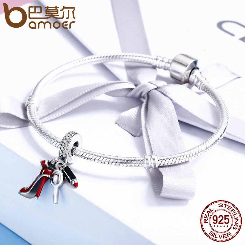 BAMOER 100% стерлингового серебра 925 женская обувь, зеркальный макияж Кулон Шарм подходит для женщин ювелирный браслет сделай сам женщин подарок SCC457