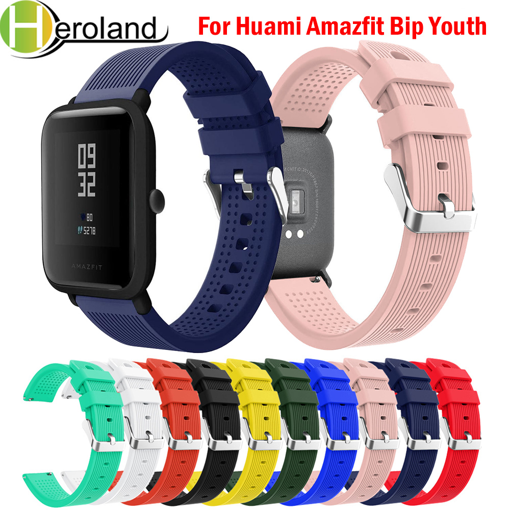 20mm Watch Strap For Huami Amazfit Bip Youth Watchband Replace For Huami Amazfit Bip BIT Lite Youth Wrist Bracelet Soft Silicone