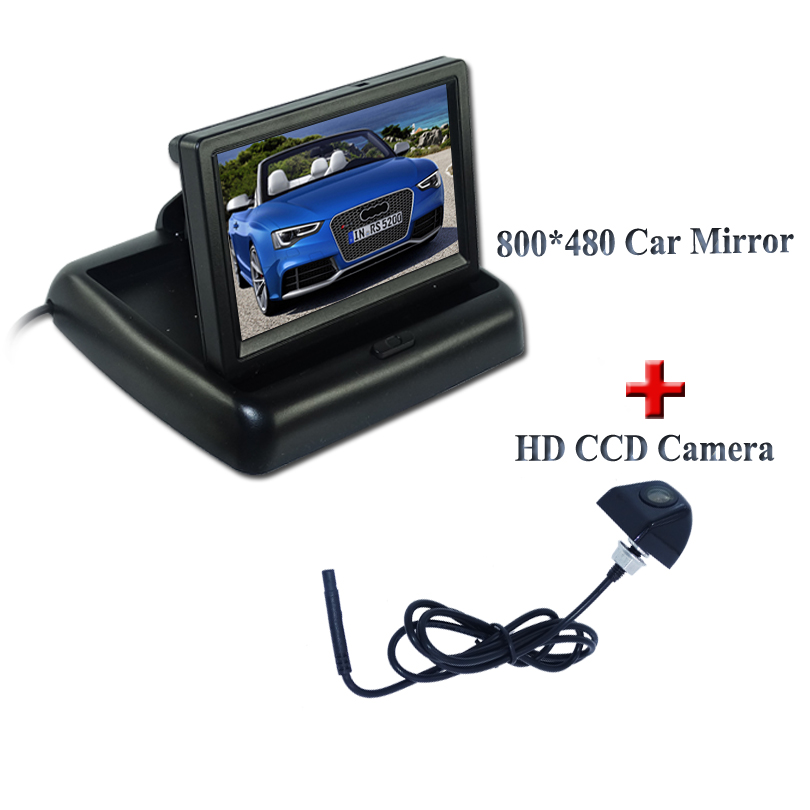 """4.3\"""" Color TFT LCD Car Rearview <font><b>Monitor</b></font>+Wide angle Night Vision Car Rear View Reverse Backup Color Camera Promotion"""