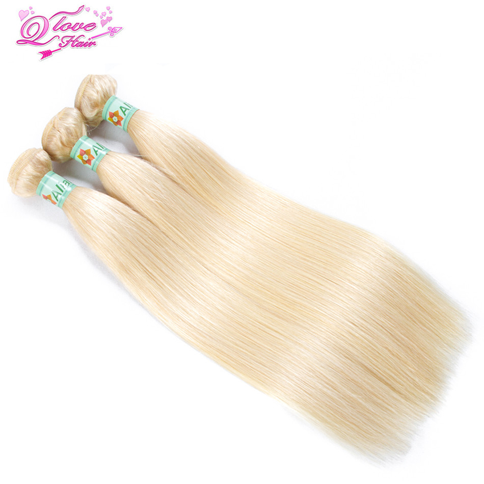 Queen Love Hair Pre-Colored 613 Malaysia Hair 3 Bundles Straight Human Hair Extension Non-Remy Hair Weave