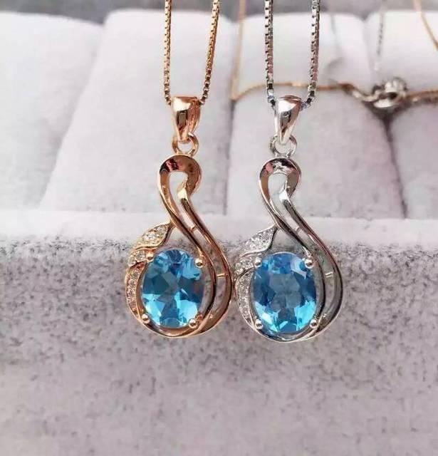 natural blue topaz pendant S925 silver Natural gemstone Pendant Necklace trendy  Lucky Elegant bottle women party fine jewelry