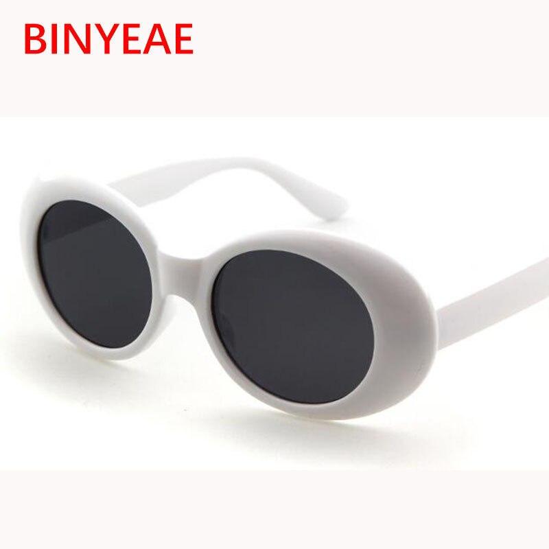 Влияние, Курт Кобейн овальные очки солнцезащитные очки дамы модные лидер продаж 2017 года Винтаж солнцезащитные очки в стиле ретро Для женщин Белый Черный Очки УФ