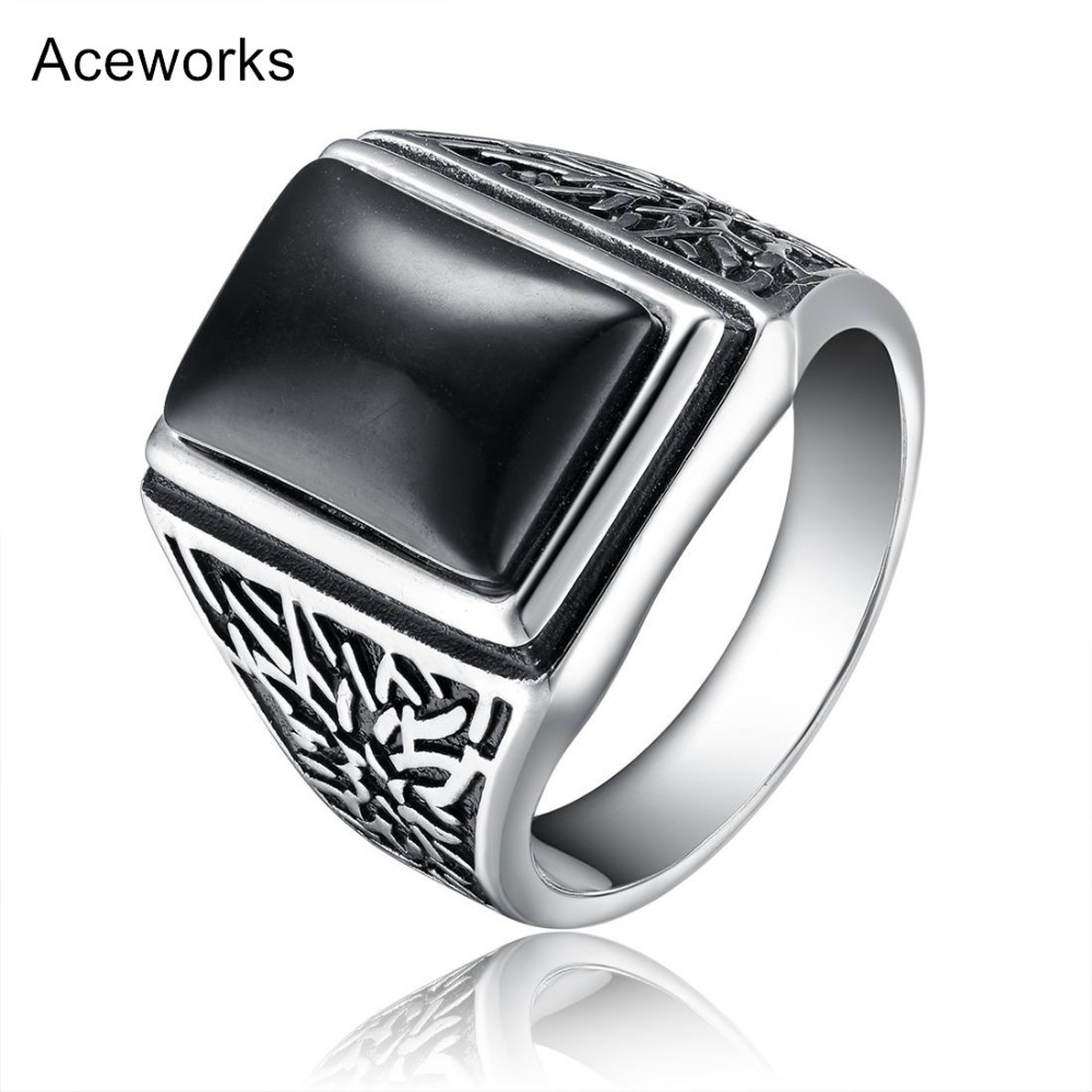 Aceworks Retro Black Stone 100% 925 Sterling Silver Metal Eu