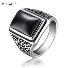 Aceworks Retro Black Stone 100% 925 Sterling Silver Metal Europe Rings Men Wedding Bridal Fine Jewelry Antique Silver Designer