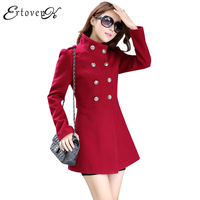 Vintage Red Women Woolen Coats 2017 New Autumn Jackets Large Size Long Sleeves Top Slim Fashion