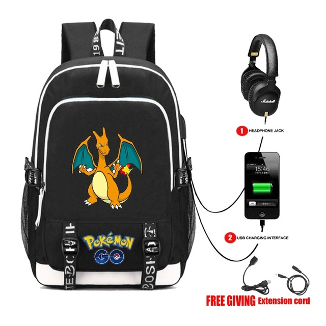 f7d3083e54 USB Charging Headphone jack Student bookbag Men Women Laptop backpack anime  Pocket Monster Pokemon Backpack 18 style