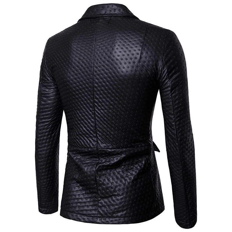Goud pak Mens Dot Embossing Casual PU Lederen Blazer | 2017 Winter Gloednieuwe Mannelijke Dikke Mode Lederen Blazer Jas uitloper