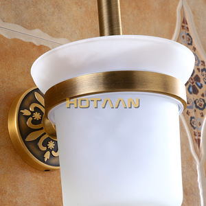 Image 3 - Antike Messing Farbe Wand Montiert Solide Aluminium Anti Rost Wc Pinsel Halter Für Badezimmer Zubehör Set Bad Produkte