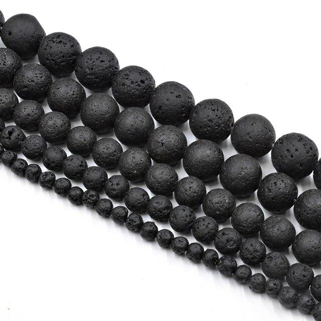 Naturel Noir Volcanique Pierre Ronde Perles En Gros Pierre De Lave Perles Lâches pour La Fabrication de Bijoux Accessoires DIY Livraison Gratuite