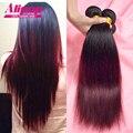 Ombre Brazilian Hair 7A Brazilian Virgin Hair Straight Ombre Human Hair 3 Bundle Deals Burgundy Brazilian Hair Weave Bundlles