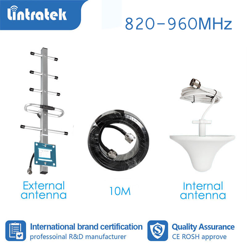 Lintratek  GSM 850 900mhz CDMA Full Set Booster Accessories Antenna For Signal Booster Amplifier 900 2G 3G 4G 10meter Cable  S4