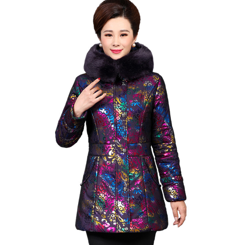 Women Thickening Large Fur Collar Hooded Winter Cotton Parka Outerwear Female Coat Print Middle-aged Wadded Jacket XXXXXL TT2919 women winter down jacket coat wadded jacket middle age women thickening outerwear female down coat vestidos