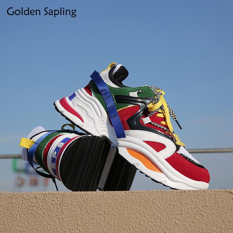 Doré Plant Baskets à Plateforme Hommes Respirant Chaussures de Course Rétro Formateur Mâle Sport Sneaker D'air En Cuir Homme Chaussures Sport