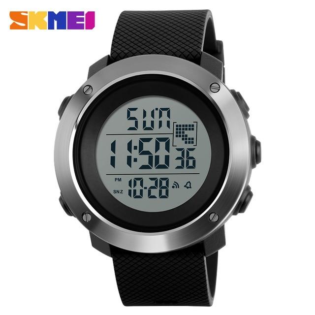 SKMEI Для мужчин Спортивные часы Chrono двойной время Цифровые наручные часы 50 м Водонепроницаемость LED Дисплей часы Relogio Masculino 1268