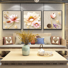 American style light luxury oil painting 5D flower INS mural Living room entrance Sofa background wall Hanging