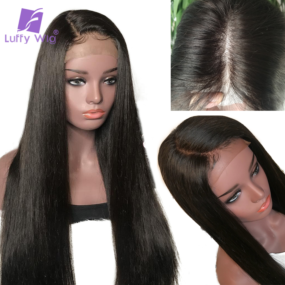 Luffy Non-remy Hair Pre Plucked Peruvian 180% Density Silky Straight 13*6 Deep Part Lace Front Human Hair Wigs For Black Women