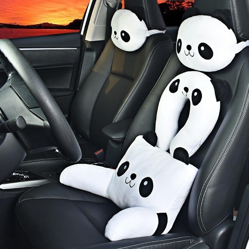 Panda Cute Cartoon Car Plush Headrest Car U-shaped Pillow Neck Pillow Car Seat Lumbar Pillow Lumbar Four Seasons