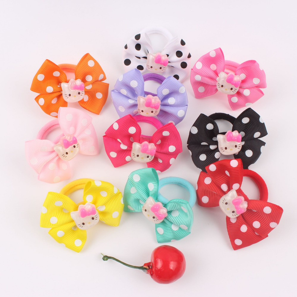 Hair bow button accessories - 1pcs Hot Dot Bow Tie Cartoon Cat Head Hair Band Holders Rubber Bands Elastics Hair Accessories Girl Hair Ties Gum 2017 Yd258