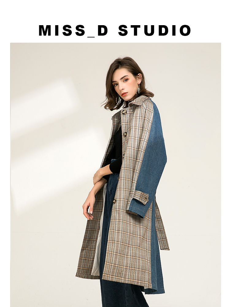 Women's Checks print Turn Down Collar long   trench   coats With Pockets Stylish Women Lattice Outerwear