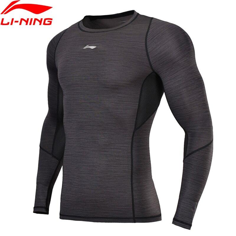 Li-Ning 2018 Men Training T-Shirts Professional Tight Fit L/S Base Layer AT DRY CREORE Li Ning Sports T-Shirt AUDN023 burnside men s gypsy knit t shirt