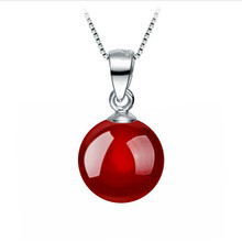TJP Cute Red Pearl Women Pendants Necklace Jewelry Charm 925 Sterling Silver Necklace For Women Accessories Girl Christmas Gift цена