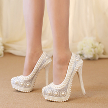 white/ivory crystal wedding shoes platform shoes NEW arrival up high-heeled shoes rhinestone round toe bridal shoes