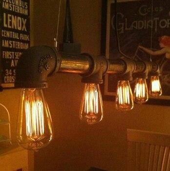 Edison sótão Personalizado balcão de bar luz do vintage pendente lâmpada Armazém luz estudo luz pingente de tubulação de água frete grátis