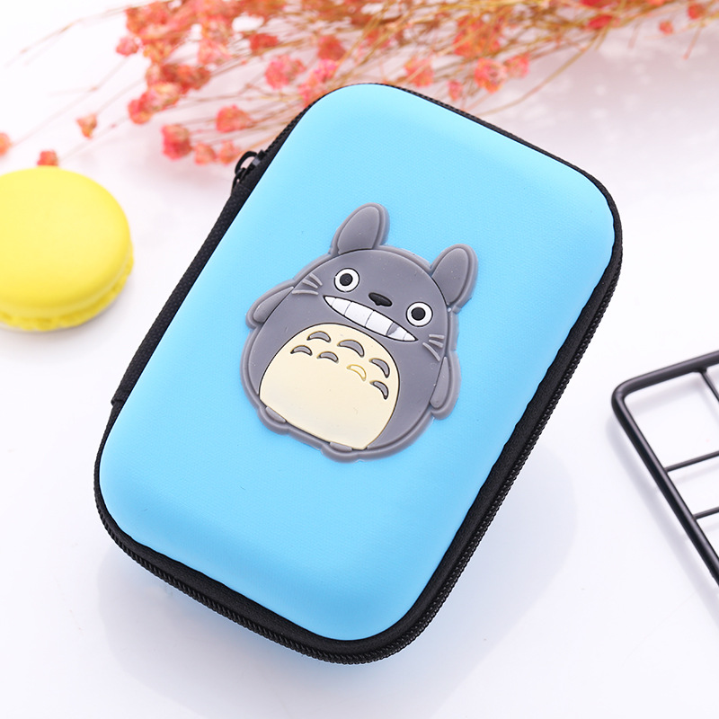 Japanese Cartoon Totoro Earphone Holder Bags EVA Silicone Coin Purse Gift Kids Boy Girl Mini Organizer Boxes Cases Wallets cute cartoon silicone coin purse bolsas mini key coin wallets headset package storage holder monederos pink girl coin boxes bags