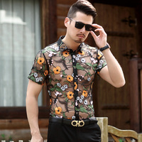 camisas masculina sexy man hollow lace floral clothes male see through embroidery shirts short sleeve transparent dress shirts