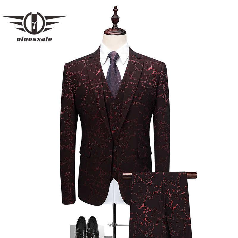 Plyesxale男性スーツ2018新しい到着エレガントウェディングスーツ用男性最新デザイナーブルゴーニュスリムフィット3ピースウエディングスーツq491