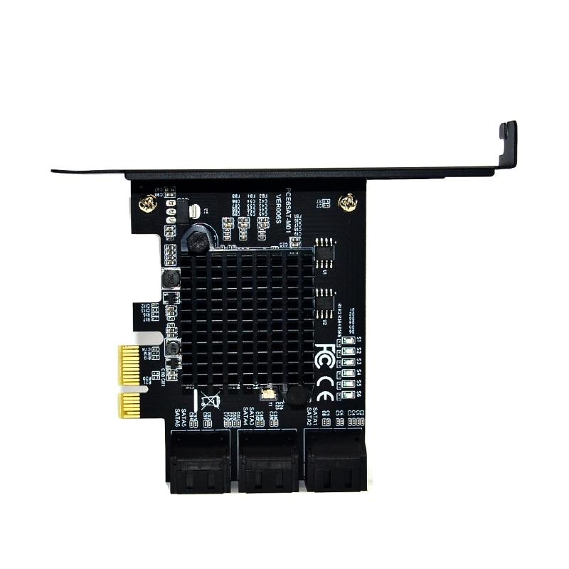 Marvell 88SE9215 puce 6 ports SATA 3.0 à PCIe carte d'extension PCI express SATA adaptateur SATA 3 convertisseur avec dissipateur de chaleur pour HDD - 2