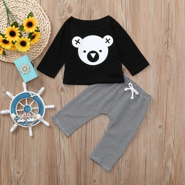 MUQGEW Children clothing set Cartoon Koala T-Shirt Tops +Striped Pants Baby Boy Clothes newborn baby boy clothes roupa infantil 1