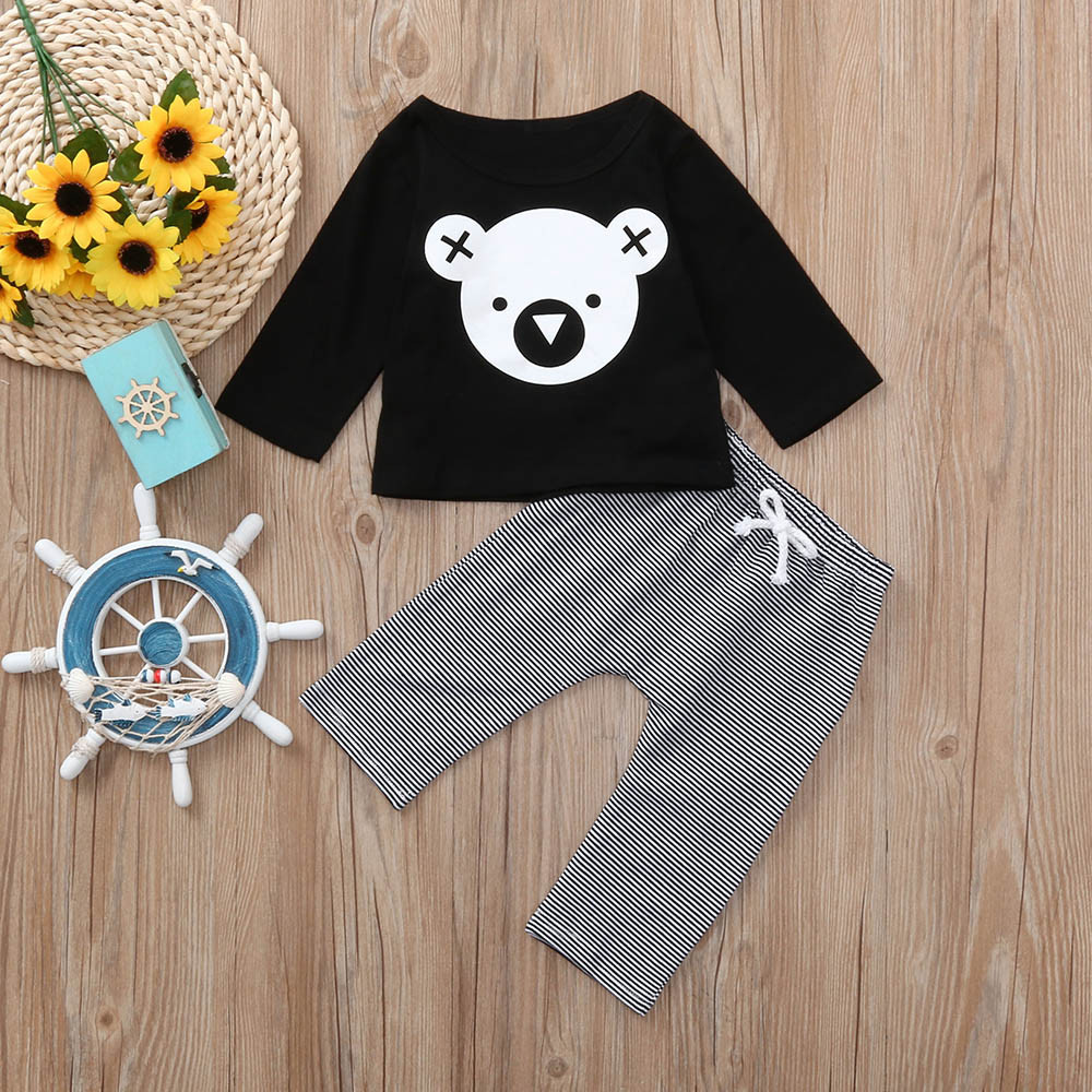 Children Clothing Set Cartoon T-Shirt Tops +Striped Pants