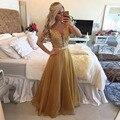 Ouro elegante Longo Prom Vestidos com Renda 2016 com Cristal e Beads Open Back Formal Vestido de Festa À Noite Vestido de Noite