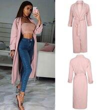 2018 New Fashion Women Winter Warm Wool Lapel long Trench Coat Female Stylish Pink Long Slim Bandage Overcoats Outwears Clothes