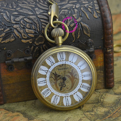 wholesale price good quality new gift for man retro vintage antique classic bronze copper brass mechanical pocket watch hour