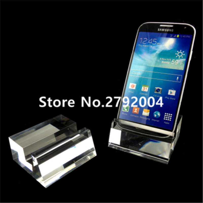 10pcs Clear Universal Acrylic Mobile Phone Display Holder Cellphone Stand for Samsung iphone 6/7retail Display clear acrylic a3a4a5a6 sign display paper card label advertising holders horizontal t stands by magnet sucked on desktop 2pcs
