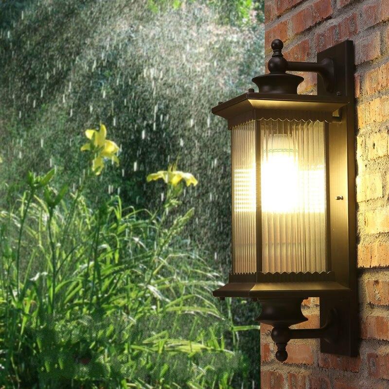 Европейское качество led крыльцо огни кофе корпус Стекло тени открытый настенный светильник садовое уличное освещение приспособление стенн