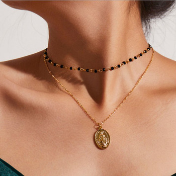 9df6c6ea46b1 Vintage Rosario Católico cuentas cadena de oro gargantilla collar joyería  religiosa gótico Jesús icono declaración collares colgantes mujeres