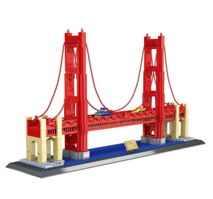 Large-scale world landmark The Golden Gate Bridge Model Building Blocks Toys Gift for Children Bricks Compatible with Lepin world famous architecture 1977pcs wange blocks golden gate bridge model building bricks set diy assembly toys for children 8023