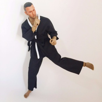 1/6 Scale Male Figure Doll Black Clothes Judo Kung Fu Jacket Pants Suit for 12 Action Figure Body
