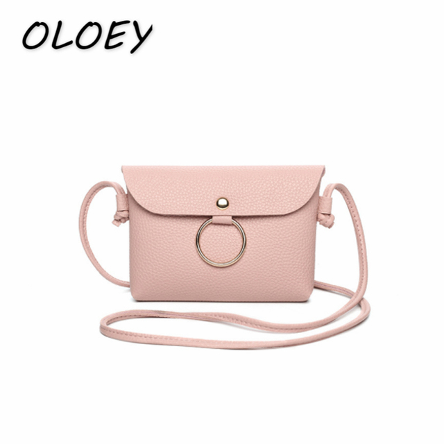 Women Ring Crossbody Bag Hasp Mini Envelope Bag PU Leather Solid Coin Purse  Change Money Bag 0b61a3e782e0f