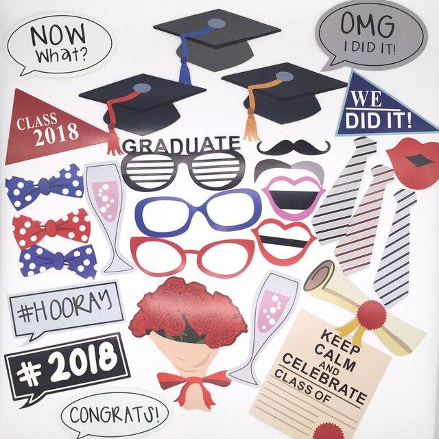 photo booth props graduation class of 2018 bachelor cap grad