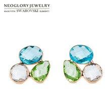 Neoglory австрийский кристалл геометрические Разноцветные серьги S925 посеребренные иглы изысканный дизайн для Леди Классический тренд
