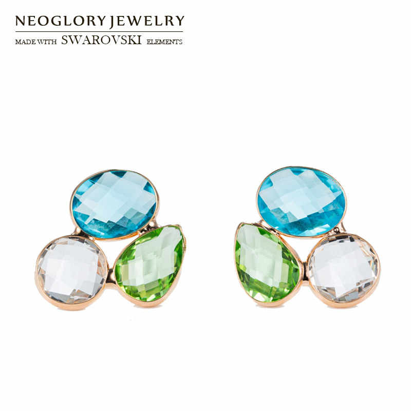 Neoglory Austria Crystal Geometric Colorful Stud Earrings S925 Silver Plated Needle Exquisite Design For Lady Classic Trendy